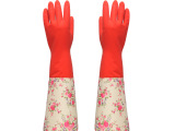 丽嘉艺**专利家务洗碗清洁乳胶加厚静电植绒一体保暖乳胶手套