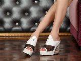 欧洲站2014新款牛皮克罗心水晶防水台坡跟鱼嘴单鞋网纱凉鞋凉拖
