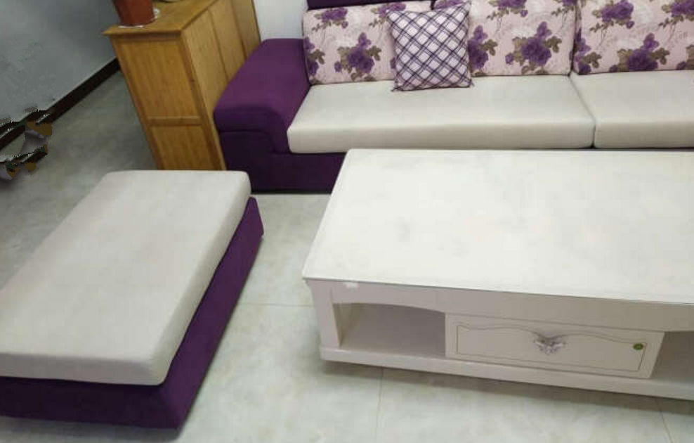 离开惠州转让7字型紫色布艺沙发可拆洗