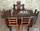 天水市老船木茶桌椅子仿古茶台实木沙发茶几餐桌办公桌家具博古架