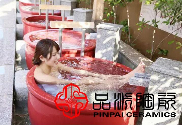 大浴缸陶瓷洗浴特大号景德镇泡澡缸养生浴缸浴场厂家