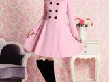 672#2014秋装粉红色双排扣毛领毛呢长大衣女装外套