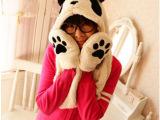 韩版熊猫情侣冬季可爱毛绒保暖加厚连帽围脖帽子围巾手套一体套装