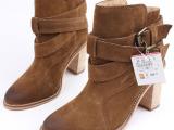 ZARA代购英伦复古擦色做旧真皮磨砂粗跟高跟短靴马丁靴女靴子女鞋