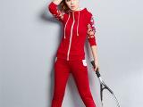 秋季新品拉链休闲运动服套装女式袖子印花纯棉枣红色两件套卫衣潮