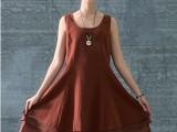 2014欧美版夏装新款文艺范无袖宽松大摆裙大码女装棉麻连衣裙