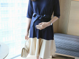韩版产后哺乳装春夏时尚外出中袖哺乳裙宽松