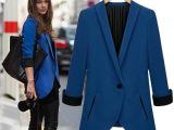 欧美女2014春新款修身外贸款欧洲站中长款小外套长袖西服装728