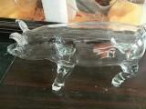 大猪猪造型玻璃酒瓶创意玻璃酒瓶空心异形玻璃猪酒瓶空心白猪酒瓶