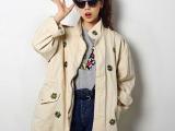 2013秋装韩国yubsshop朴寒星学院花朵刺绣风衣外套