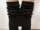 秋冬加绒加厚保暖裤女冬高腰外穿黑色打底裤显瘦双层保暖一体裤子