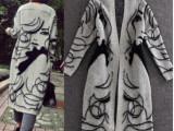 女式秋装针织衫毛衣高档时尚美女抽象图案长款毛针织外套女大衣厚