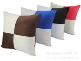 现货定做麂皮绒拼色格子抱枕套 沙发装饰靠垫套