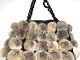 超大号超大真皮草兔毛球球包单肩包手提皮草包时尚女包链条包