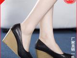 2014春季新款真皮单鞋女鞋蛇纹牛皮百搭高跟大码坡跟女鞋厂家直销