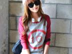 厂家直销2014秋装新款韩版女装圆领宽松印花长袖T恤