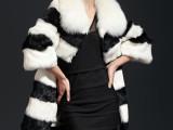 海宁皮草批发整皮兔毛中长款黑白拼接 可拆卸狐狸毛领女皮草外套