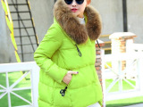 棉衣女2014冬装新款正 韩版宽松直筒中长款连帽带毛领棉衣外套潮