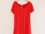2014 新款女式t恤 打底衫圆领女装短袖纯色莫代尔t恤批发 G