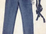 韩版女牛仔背带裤长裤三排扣小脚库存原单尾货批发可调吊带裤