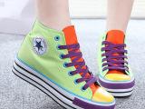 2014秋季新款 拼色五星糖果色高帮内增高 高级牛筋底 帆布鞋