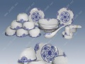 青花玲珑餐具 传统青花玲珑礼品 陶瓷礼品定做