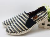 潮男鞋 透气一脚蹬懒人帆布鞋条纹休闲低帮潮夏季软舒适豆豆鞋