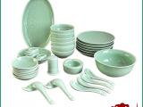 生产供应 新款36头玫瑰餐具套装 精美陶瓷餐具 龙泉青瓷批发