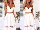 2015女装夏 白色蕾丝拼接时尚欧美连衣裙外贸原单无袖裙子批发
