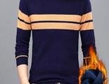 秋冬季男士圆领条纹长袖休闲针织衫T恤保暖男装59元