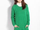 韩国代购麻花口袋毛衣中长款圆领宽松复古套头长袖毛衣外套女毛衫