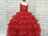 2015春季新款蓬蓬公主裙全棉里后松紧带红色儿童表演服主持礼服