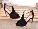 欧洲站2014春夏新款女鞋钉钻尖头鱼嘴防水台细跟高跟浅口真皮凉鞋