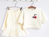 秋冬新款童装批发 1858韩版女童 空气棉两件套 蕾丝边儿童连衣