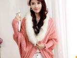 实拍*秋季新装 女款开衫针织衫 兔毛毛领蝙蝠袖 女式 毛衣外套