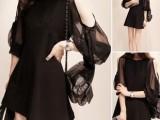 最新夏季韩版女装纯色显瘦九分袖性感露肩臂网纱拼接雪纺连衣裙