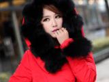 2013新款品牌女式羽绒衣太阳花大狐狸毛拼接加厚羽绒服女厂家直销