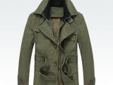 2014秋冬新款男士风衣中长款修身保暖加绒西装领时尚帅气毛呢外套