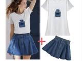 2014夏季新款欧美短袖香水印花T恤+牛仔半身短裙套装 女