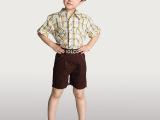 七彩城品牌童装正品 儿童中大童男童纯棉 长袖格子针织衬衫