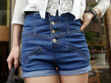 2013新款时尚日式单排扣高腰卷边牛仔短裤