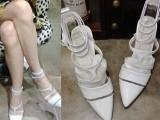 欧美时尚尖头真皮女鞋牛筋底一字扣带镂空高跟凉鞋名媛罗马女鞋子