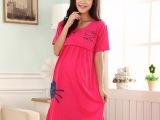 睡衣批发夏季新款女孕妇装拉链哺乳装短袖纯棉睡衣KT猫睡裙家居服