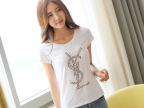 2015夏季新款女装白色纯棉t恤女短袖 韩国修身大码印花半袖女t恤