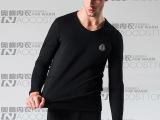 厂家直销提供图片 新款男式V领 加绒加厚 保暖内衣特价 套装批发