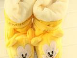 冬婴儿高帮长筒棉鞋珊瑚绒软底出口外贸原单宝宝加厚学步靴子
