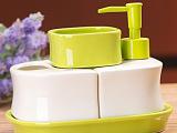 多功能陶瓷卫浴四件套(带托盘)陶瓷卫浴套装卫浴用品一件代发