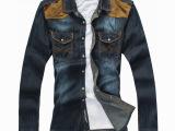 一件代发男式衬衫 牛仔长袖衬衫男 拼色牛仔上衣 秋装男士衬衣