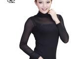 秋季爆款时尚女装高档弹力网纱打底衫性感蕾丝烫钻长袖T恤