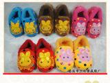 热销新款儿童卡通兔子毛绒棉拖 包跟软底保暖拖鞋 家居室内棉拖鞋